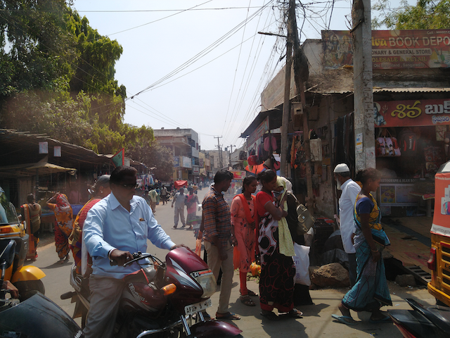 A crowded street in India.